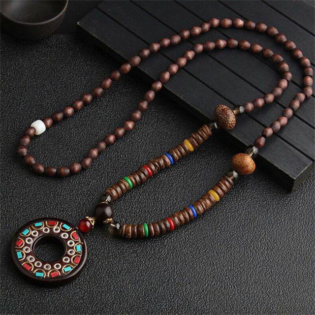 Collier bois bouddhiste