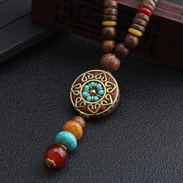 Collier bois ethnique